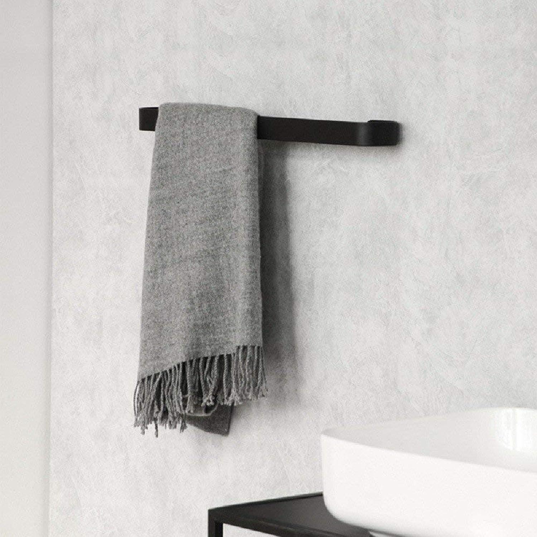 Towel Rack Free Punch Towel Rack Space Aluminum Bathroom Rack Black Towel Rack Bath Hardware Bathroom Pendant,Black Bathroom Towel Shelf (color   Black)