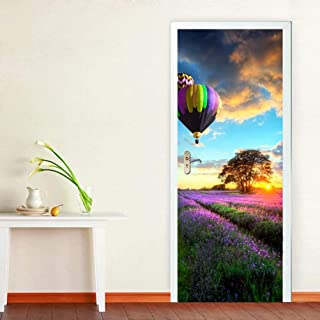 Tifege Door Mural 3D Wallpaper - Home Decor Wall Decals Stickers for Kitchen Self-Adhesive Art Quote Poster Decorations Hot Air Balloon Lavender 30.3x78.7 DM001