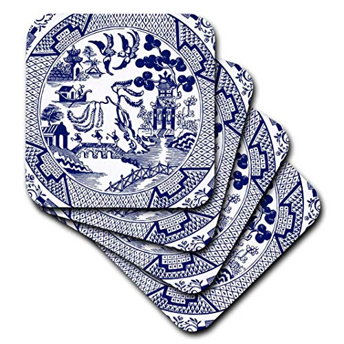 3dRose Willow Pattern Detail in Blue and White, set of 8 Soft Coasters