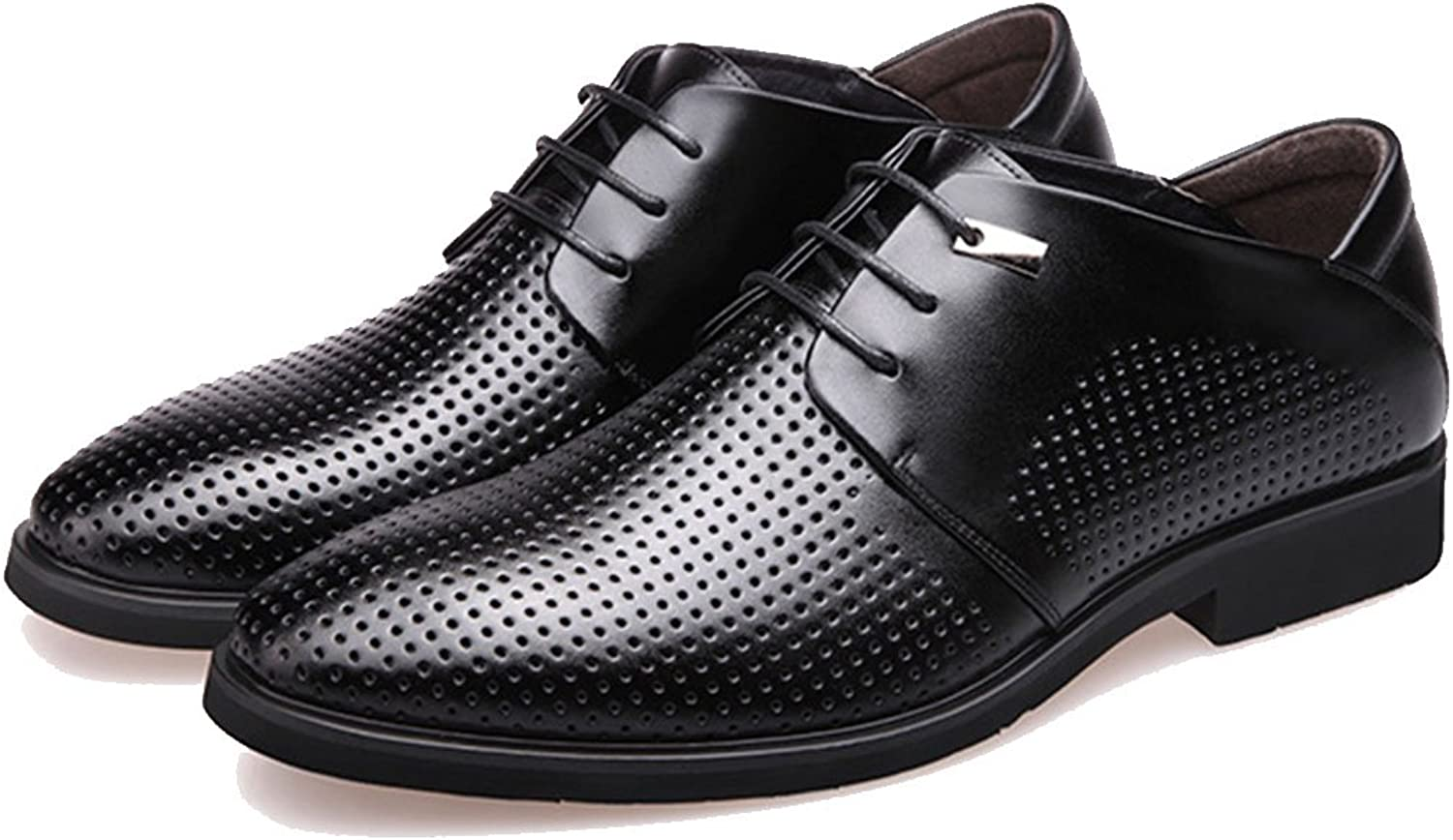 GAOLIXIA Men's Summer Formal Business Breathable Leather shoes British Lace-up Hollow Sandals Fashion Dress shoes Office Career Work shoes