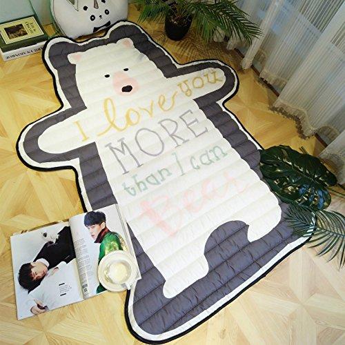 GRENSS 100% EIS Baumwolle Kinder Wolldecke Baby spielt Crawling Mat Cartoon Schafe Pinguin Bär Panda Cloud Teppich und Teppiche für Kinder, Pad, 1550mmx1100MM, Bär