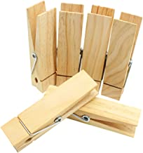 RIVERKING 6 Pcs Sturdy HeavyDuty Natural Clothespins Jumbo Clothes Pins Pegs Hanging Clips Clothespins,150MM