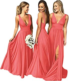 Bridesmaid Dresses Long V Neck Backless Split Prom Formal Evening Gowns for Women