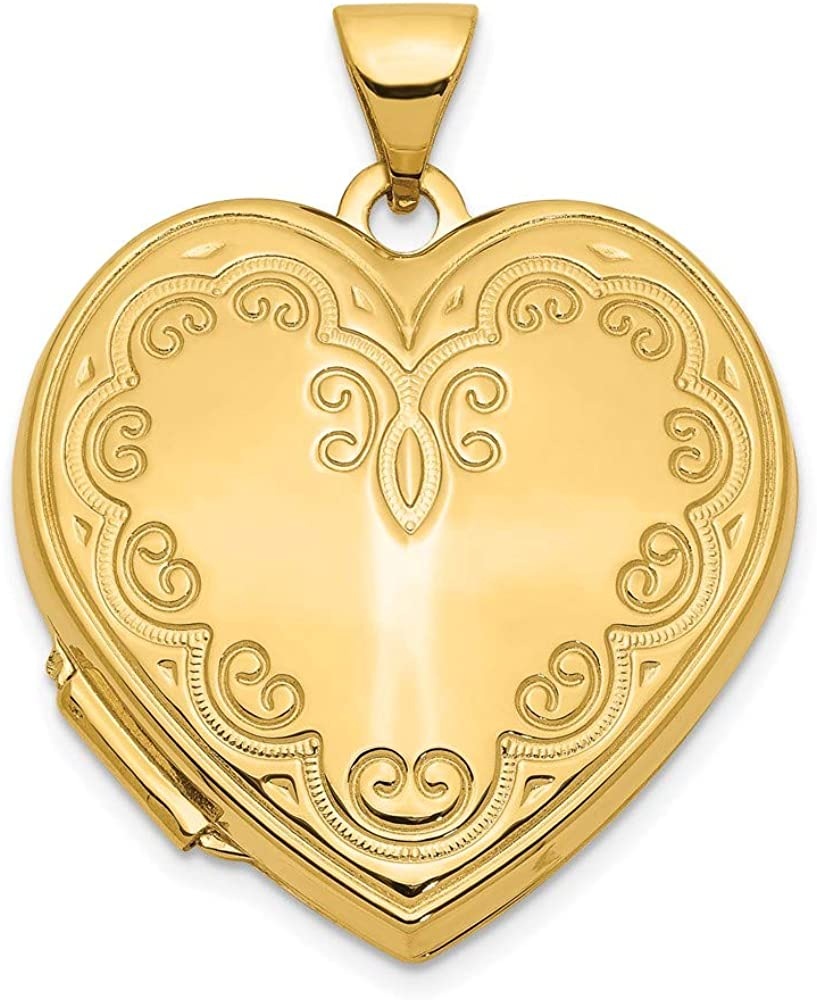 14k Yellow Gold Heart Locket Pendant Charm Fine Jewelry For Women Gifts For Her