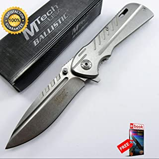 SPRING ASSISTED FOLDING POCKET Sharp KNIFE Mtech Silver Heavy Duty Blade Tactical A890SP Combat Tactical Knife + eBOOK by Moon Knives