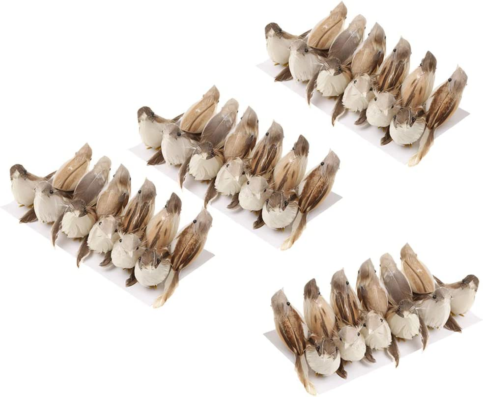 Prettyia Set of 48Pcs Large discharge sale Fake Feather Tree Ranking TOP1 Decor Perched Bird Xmas