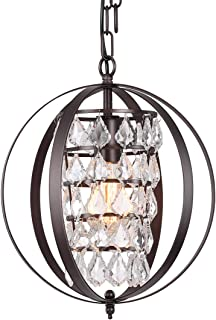 CHICLUX Globe Chandeliers Crystal Oil Rubbed Bronze Chandelier Lighting Vintage Light Fixture 1 Light