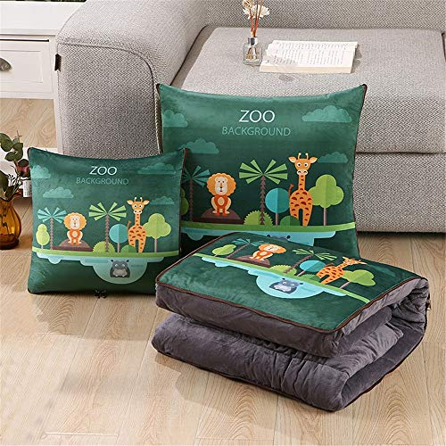 KCCCC Travel Blanket and Pillow Autumn Thickened Warm Crystal Velvet Cushion Quilt Dual-purpose Car Multifunctional Printing Pillow Quilt 40x40cm PremiSoft 2 in 1 Airplane Blanket