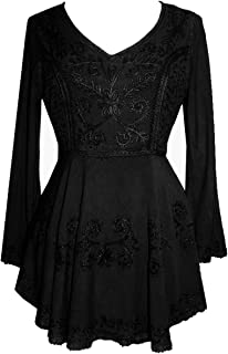 02 B Medieval Embroidered Flare Tunic Top Blouse
