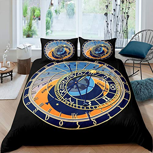 Tbrand Classic Men Duvet Cover Queen Watch Date Black Beddding Cover for Children Kids 3D Pattern Printed Soft Ligthtweight Microfiber Comforter Cover 3pcs (1 Duvet Cover with 2 Pillowcases)