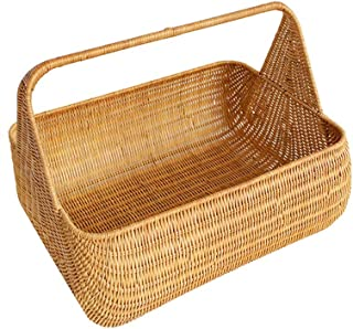 Asdfnfa Shopping Basket Hotel Dirty Clothes Portable Storage Basket Picnic Rattan Bamboo Basket asdfnfa