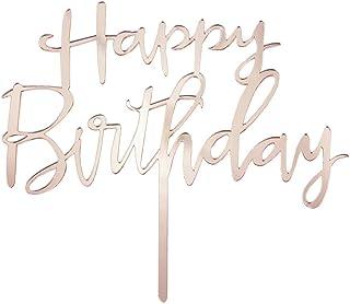 Oblique Unique Torten Kuchen Topper Aufsatz Happy Birthday Geburtstag Jubiläum Deko Muffin Cupcake Dekoration Gold Roségold - Farbe wählbar Roségold