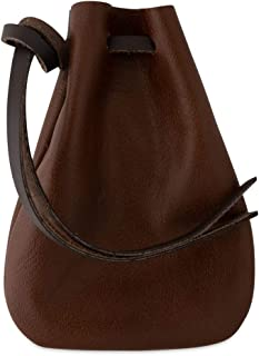 Leather Drawstring Pouch, Coin Bag, Medicine Tobacco Pouch Medieval Reenactment - Made in U.S.A. by Nabob Leather (Brown, Medium)