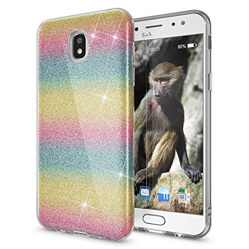 NALIA Handyhülle kompatibel mit Samsung Galaxy J3 2017 (EU-Modell), Glitzer Slim Silikon-Case Back-Cover Schutzhülle, Glitter Sparkle Bumper, Dünnes Bling Strass Smart-Phone Etui, Farbe:Regenbogen