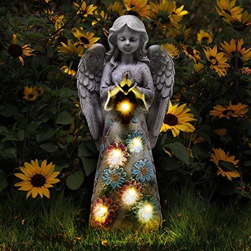 Voveexy Angel Garden Figurine Outdoor Garden Statue, Solar Garden Sculpture with 7 LEDs Welcome Sign Resin Praying Angel Art Garden Decor for Patio Lawn Yard Porch Decoration, Housewarming Garden Gift