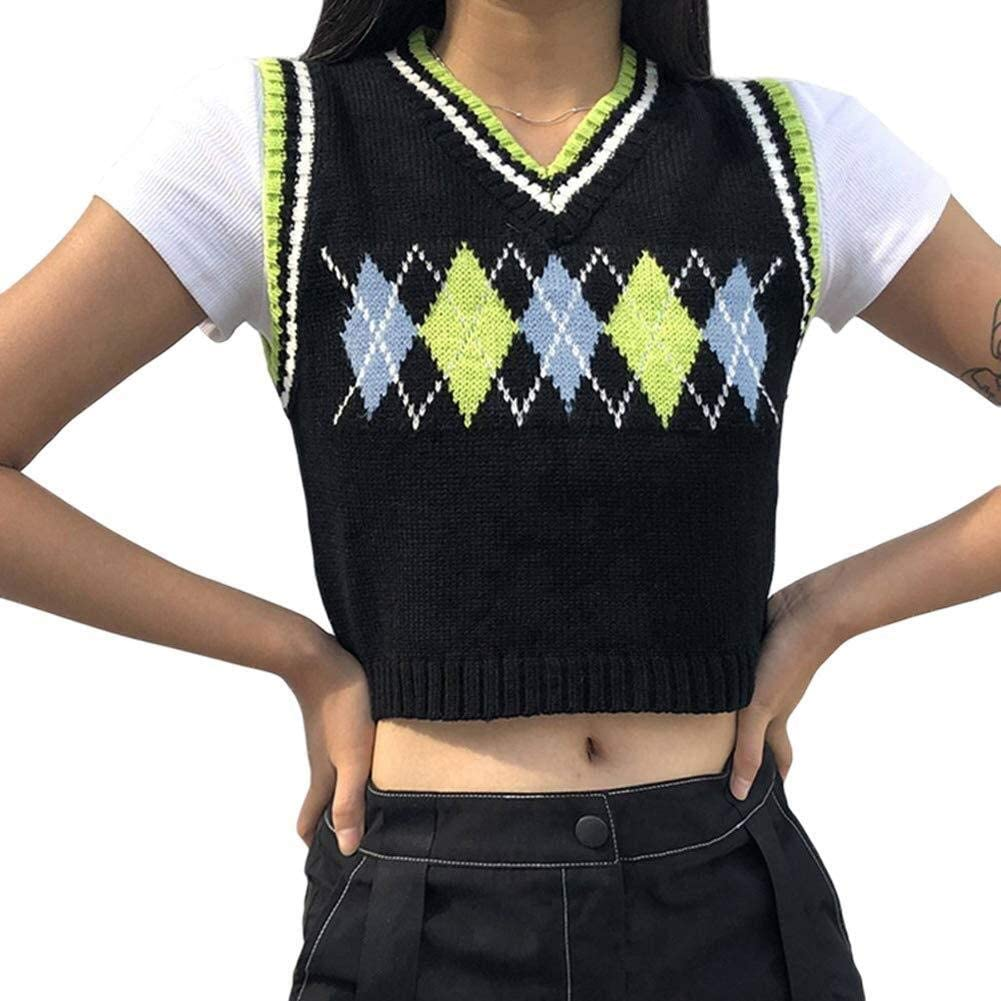 Girls Women Argyle Sweater Vest Knit V-Neck Plaid Vintage Streetwear Preppy Style Knitwear Crop Tank Top Outerwear (Color : Green Argyle, Size : Small)