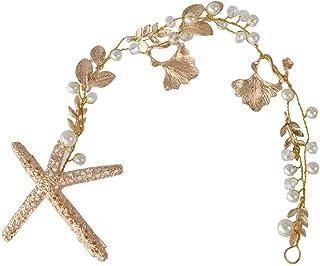 Diademi Squisito Foglie da Sposa Foglie di Nozze Perle Starfish Capelli Clip per Capelli Catena Catena Catena Catena Gold ...