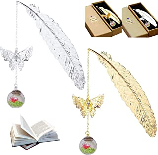 2pcs Metal Feather Bookmarks with Butterfly and Glass Beads Eternal Dry Flower Pendant Student Reading Page Markers Gift f...