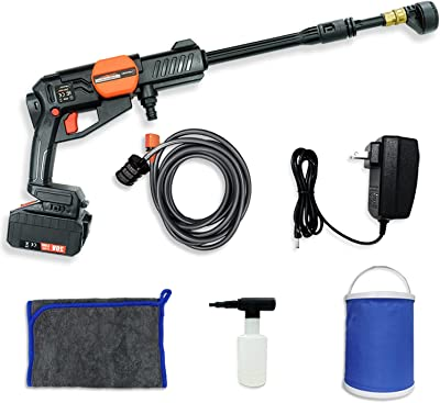 Cordless Electric Pressure Washer, Hapfish 20V Max 380 PSI Portable Power Washers with 5.0Ah Large Capacity Battery (Over 40mins use at Max Power), Abundant Accessories (Battery, Charger etc) Included