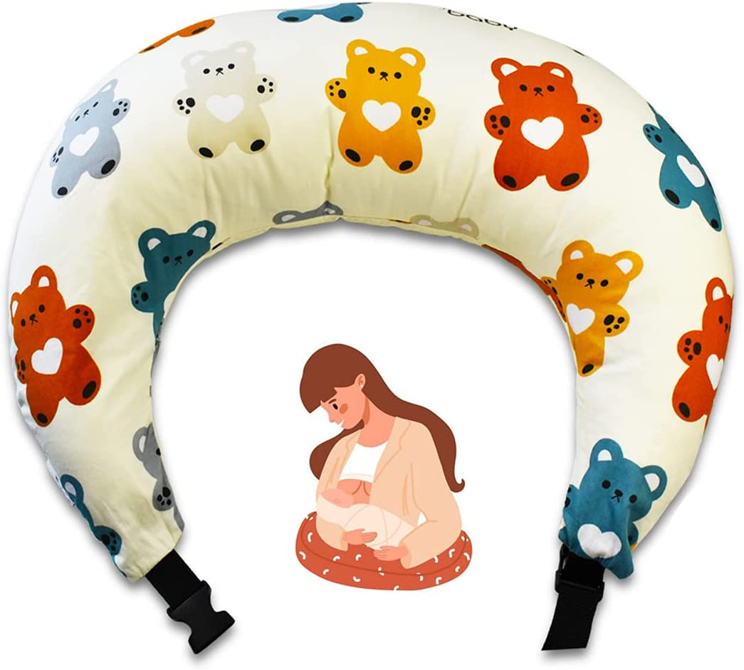 ICHOEEU Nursing Pillow and Positioner, Breastfeeding Pillow with Adjustable Clasp, Bottle Feeding Infant Support Pillow - Machine Washable, Organic Cotton and Fiberfill (Bear)