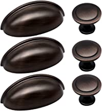 27pcs ORB Cabinet Knobs and Cup Handles, Sunriver 12 Packs Oil Rubbed Bronze Kitchen Cup Pulls 3 Inch 76mm Stainless Steel Bin Cup Drawer Handles and 15 Packs knob Set