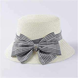 SHENTIANWEI Hat Female Retro Plaid Bow Straw hat Travel Vacation Loose Sunscreen hat (Color : White)