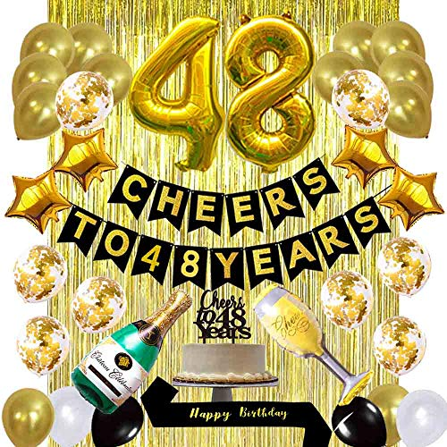 Gold 48th Birthday Decorations Kit, Cheers to 48 Years Banner Balloons 48th Cake Topper Birthday Sash Gold Tinsel Foil Fringe Curtains for 48 Birthday&Anniversary Decorations