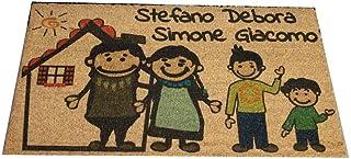 Zerbino Personalizzato da interno - Fumetto Famiglia e Tuoi Nomi - in cocco naturale cm. 100x50x2 LOVEDOORMAT Marchio Regi...
