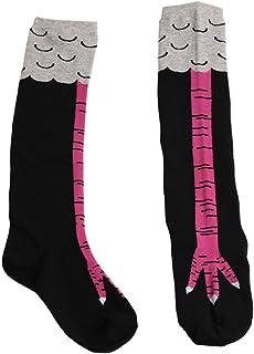 Calcetines creativos de pollo para mujer, sobre la rodilla, algodón de dibujos animados, garra de pollo, damas, estampado 3D, divertidos animales, calcetines altos, rosa roja