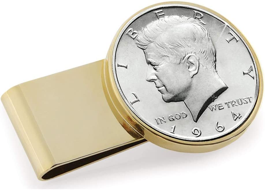 Goldtone Stainless Steel JFK 1964 First Year of Issue Half Dollar Money Clip