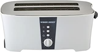 Black+Decker 1350W 4 Slice cool touch Toaster with Electronic Browning Control, White - ET124-B5, 2 Years Warranty