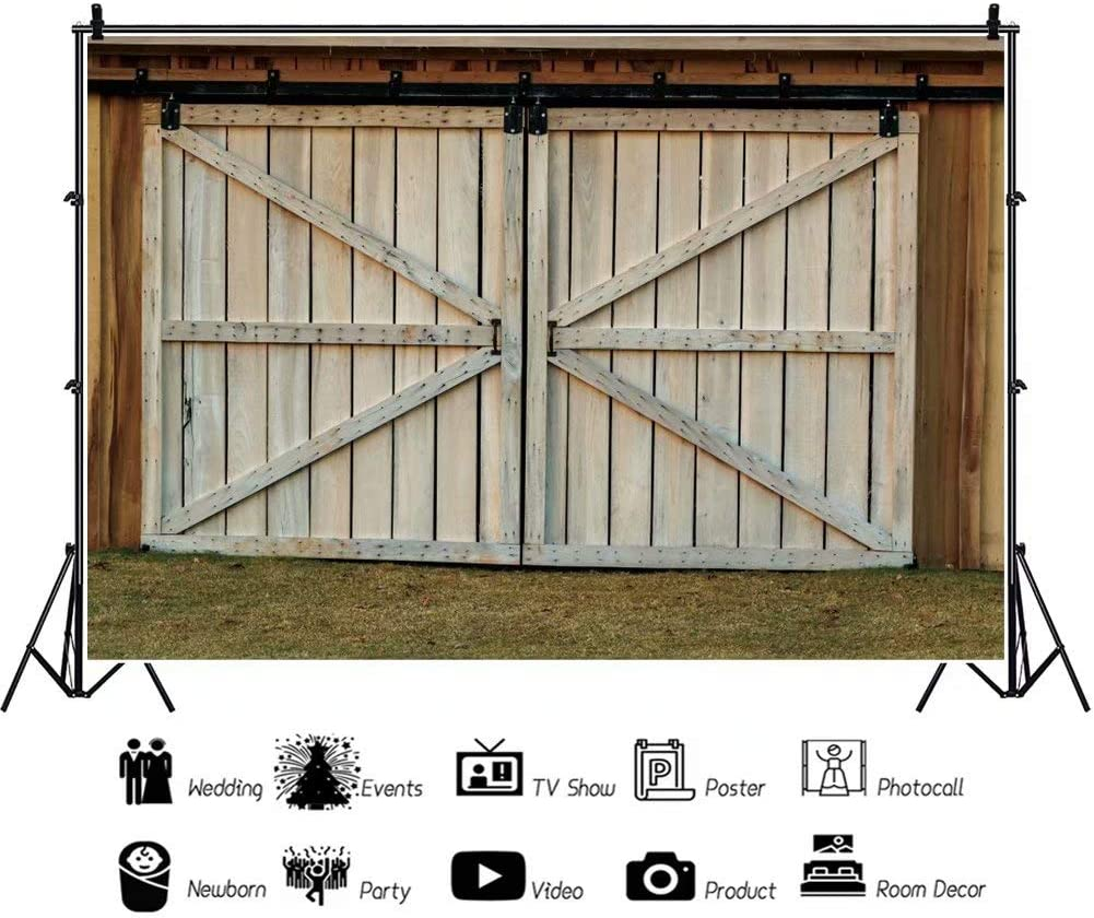 OFILA Rustic Farm Barn Backdrop 10x6.5ft Wooden Door Photography Background Rustic Birthday Photo Wedding Backdrop Farm Fall Festival Photo Shoot Baby Shower Party Background Studio Props