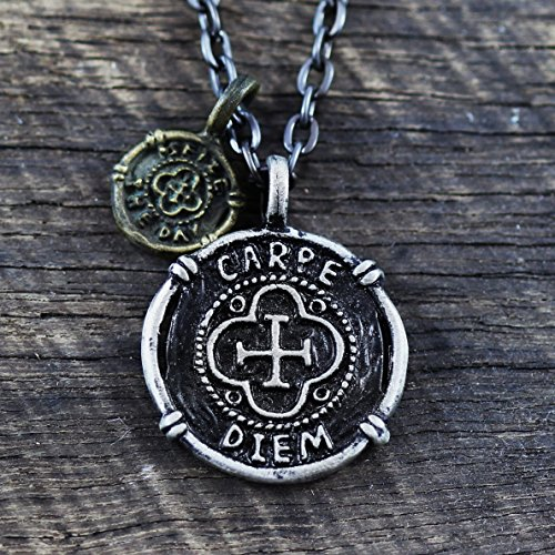 Carpe Diem Silver Coin Necklace - Men's Masculine Jewelry