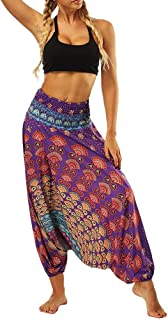 Dubocu LLC Women's Casual Summer Loose Yoga Trousers Baggy Boho Aladdin Jumpsuit Harem Pants