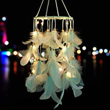 Green Feather Dream Catcher Mobile with LED Fairy Lights Wall Hanging Ornaments Ceiling Decor Bohemian Wedding Boho Decorations Nursery Decor