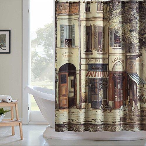 DS CURTAIN Cafe de Paris Vintage Shower Curtain,Fabric Shower Curtain,Waterproof Shower Curtain,Chocolate Shower Curtain for Bathroom,Print Bathroom Curtains,72' W x 72' H