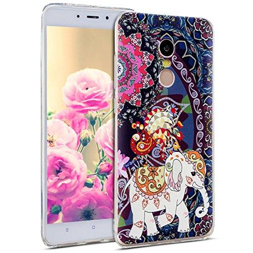 Uposao Kompatibel mit Hülle Xiaomi Redmi Note 4X Handyhüllen Transparent Weiche Silikon Durchsichtig TPU Kratzfest Schutzhülle Crystal Clear Ultra Dünn Silikonhülle Handytasche,Blumen Totem Elefant