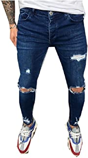 neveraway Men Mid Waist Distressed Pocket Slim Fitted Washed Stretch Jeans