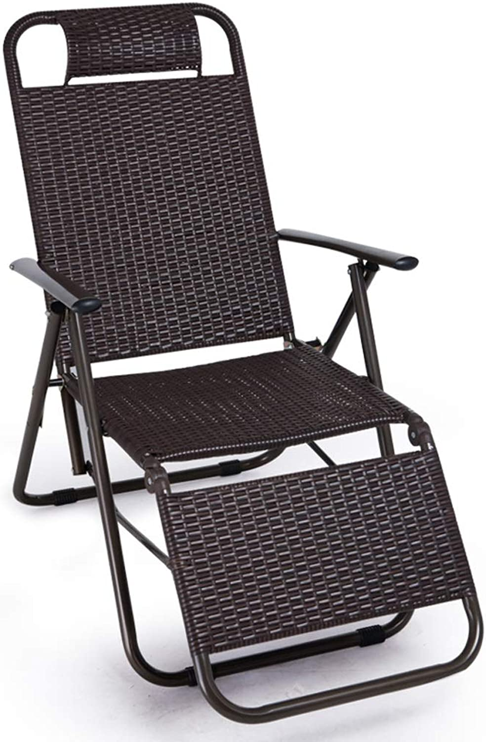 Sturdy Folding Chair HJBH Metal + Rattan Material Folding Chair Recliner Office Lunch Break Leisure Chair Leisure Chair Series Quality Assurance Size  High 94CM  Width 47.5CM color (coff