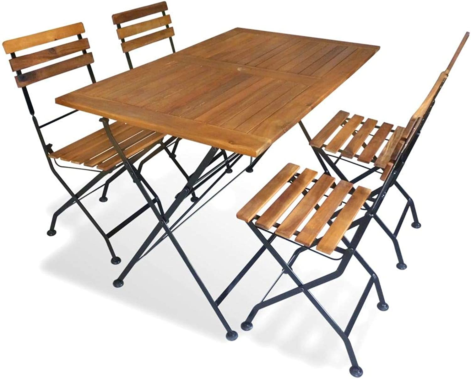 Festnight Outdoor Dining Set Foldable Graden Party Table and Chairs Set for Family Gathering Acacia Wood