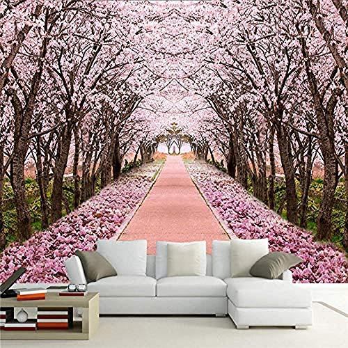 Papel tapiz fotográfico 3D romántico árbol de cerezos en flor Mural sala de estar TV sofá Fondo pintura de pared Fr papel pintado pared dormitorio de estar sala de estar fondo No tejido-300cm×210cm