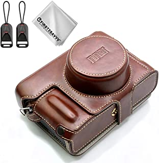 Protective PU Leather Skin Full Body Camera Case Bag Cover Compatible with Fujifilm X100V 23mmF2 Lens Camera (Dark Brown)