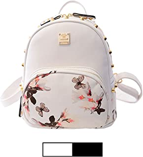 Mini Backpack for Girls Designer Rivet PU Leather Travel Bags Womens Casual Fashion College School Sport Daypack Outdoor Accessories Ruchsack Pack Floral Bookbags Waterproof with Pink Makeup Handbags