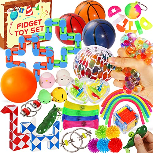 Max Fun 36 Pack Sensory Fidget Toys Pack Bulk, Stress Balls Relief Anxiety Relief Tools Toys for Kids Adult Children, Figetget Toys Set Bundle Autistic ADHD Fidgets Box, Infinity Cube Squeeze Ball