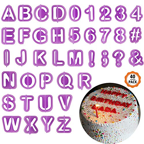 chudian 40-delige uitsteekvormen set letters cijfers leestekens uitsteker fondant marsepein voor taarten cake decoreren lila bakaccessoires