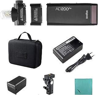 Godox AD200Pro Pocket Flash Portatil inalámbrico TTL con Cabeza Intercambiable (Speedlite/Bombilla Descubierta) GN52 GN60 ...
