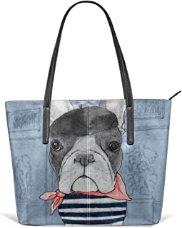 French Bulldog In Front Of Arc De Triomphe Leather Tote Large Purse Shoulder Bag Portable Storage HandBags Convenient Shoppers Tote