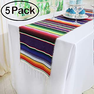 TRLYC Pack of Five 14 x 84 inches Mexican Serape Table Runners for Mexican Party Wedding Decorations Fringe Cotton Table Runner