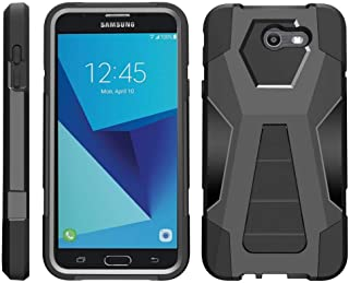 TurtleArmor   Compatible with Samsung Galaxy J7 2017 Case   J7 Prime   J7 Sky Pro [Dynamic Shell] Impact Hard Kickstand Hybrid Shock Silicone Cover Robot Military Army - Black