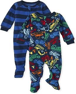 Baby Toddler Boy Construction Fleece One Piece Pajamas...